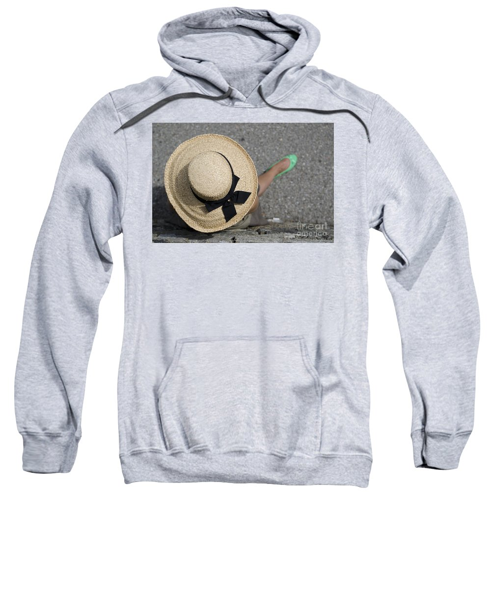 Woman Sweatshirt featuring the photograph Straw Hat And Green Shoes by Mats Silvan