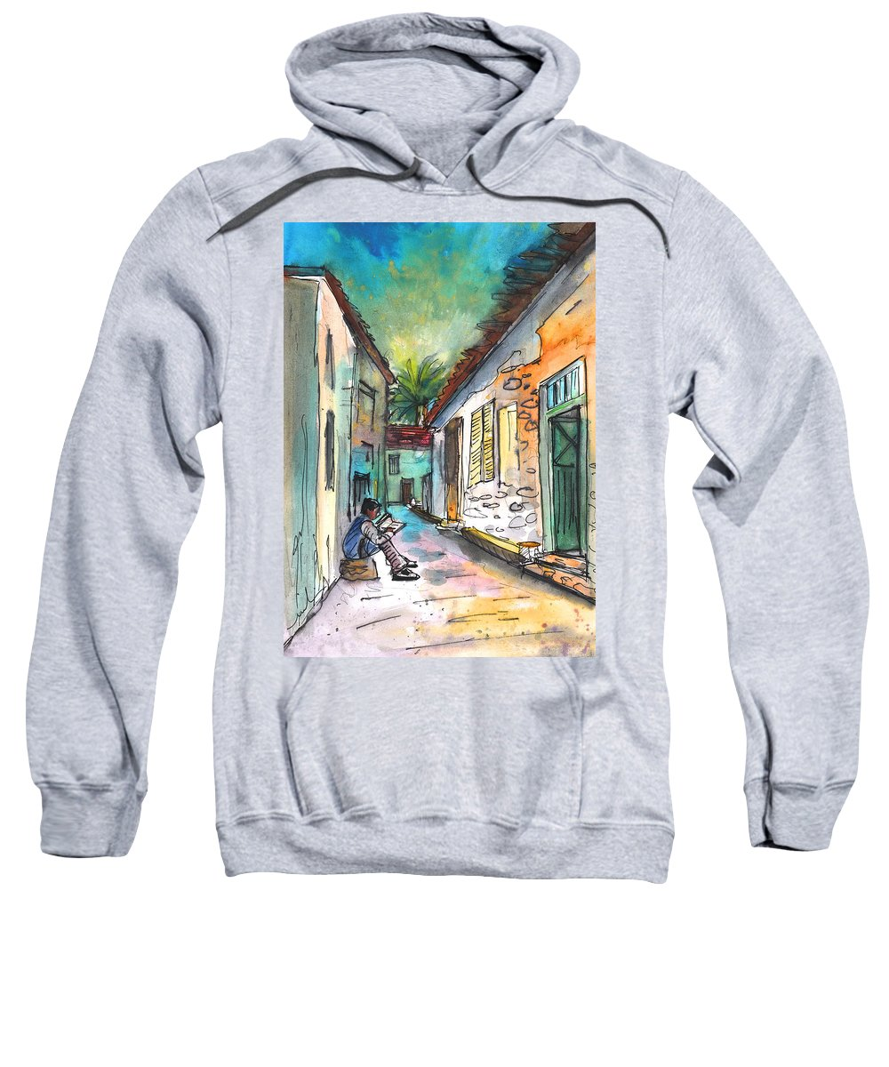 Travel Sketch Sweatshirt featuring the painting Street Life In Nicosia by Miki De Goodaboom