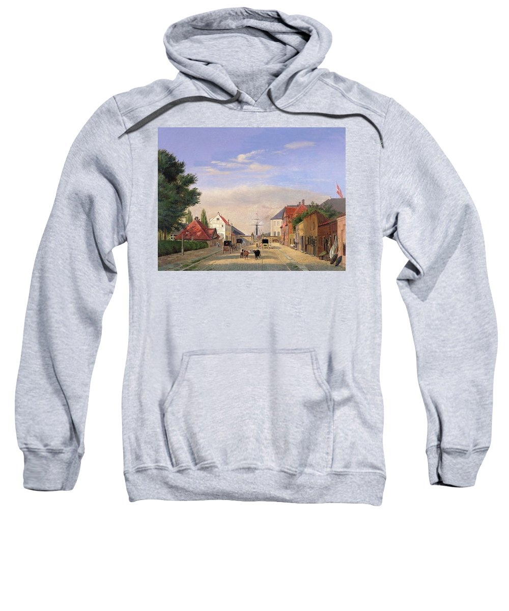Harbour; Shop; Carriage; Cattle Sweatshirt featuring the painting Street Scene by Danish School