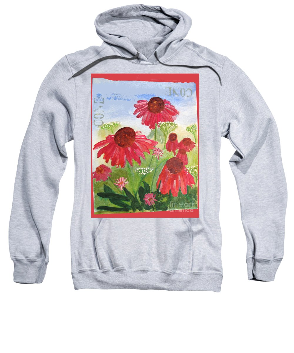 Summer Sweatshirt featuring the painting Summer Coneflowers by Sandy McIntire