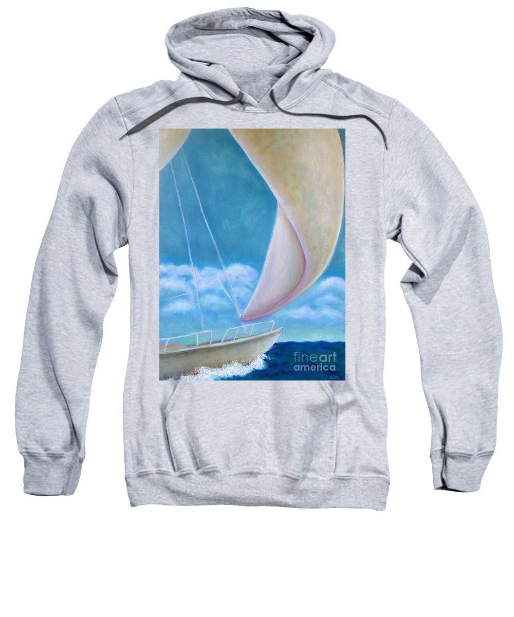Sailboat Sweatshirt featuring the painting Summer Enjoyment by Vesna Antic