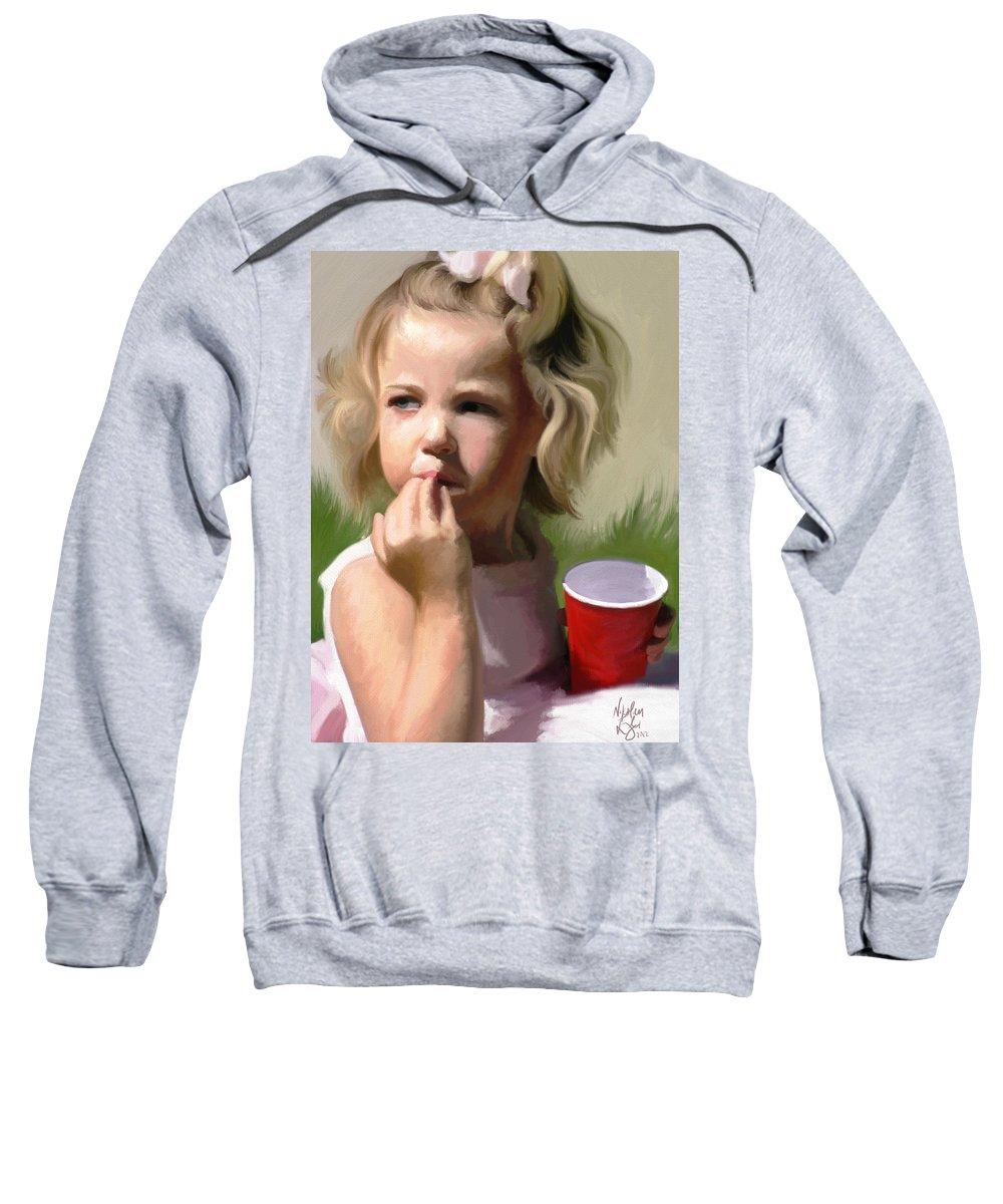 Blonde Sweatshirt featuring the digital art Summer Picnic by Nik English