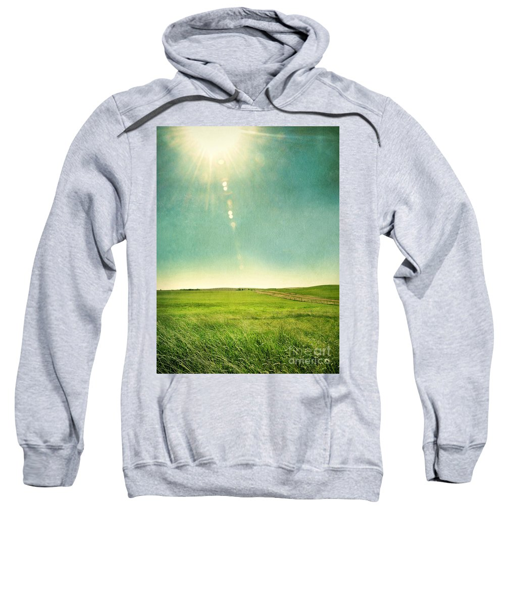 Grass Sweatshirt featuring the photograph Sun Over Field by Jill Battaglia
