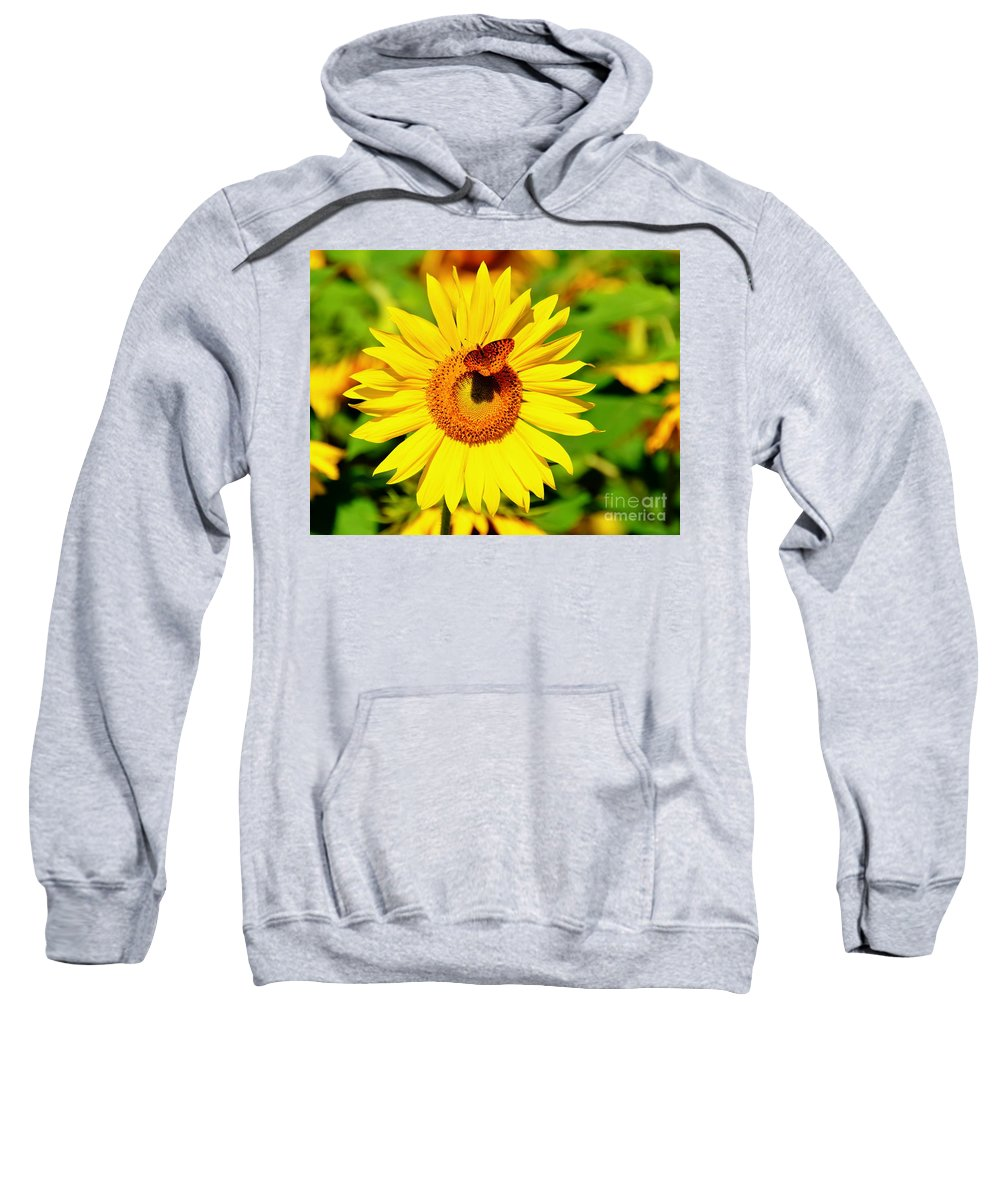 Sunflower Sweatshirt featuring the photograph Sunflower And Butterfly by Debbi Granruth