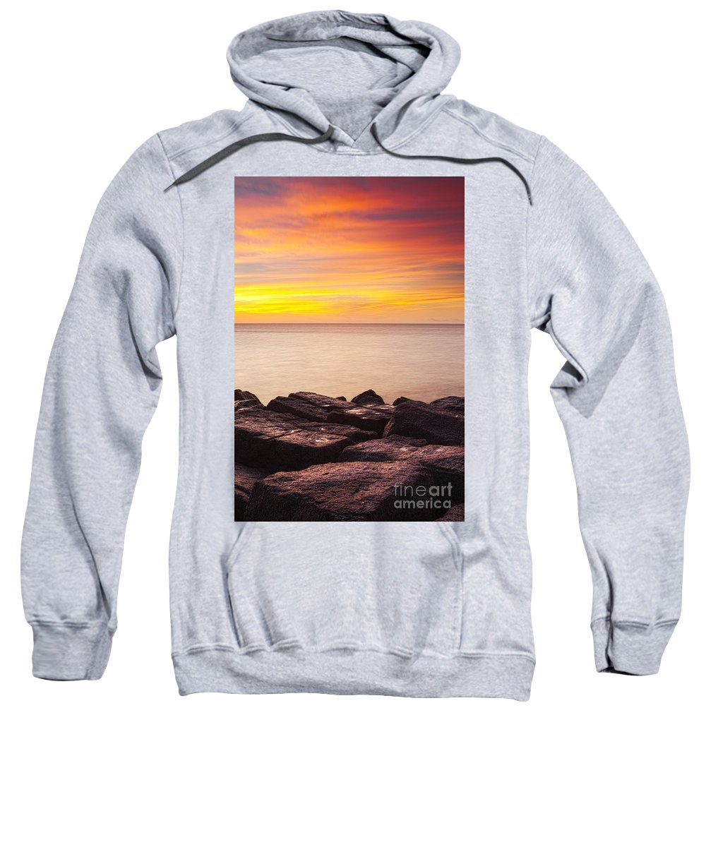 Beach Sweatshirt featuring the photograph Sunrise On The Jetty Texas by Matt Suess