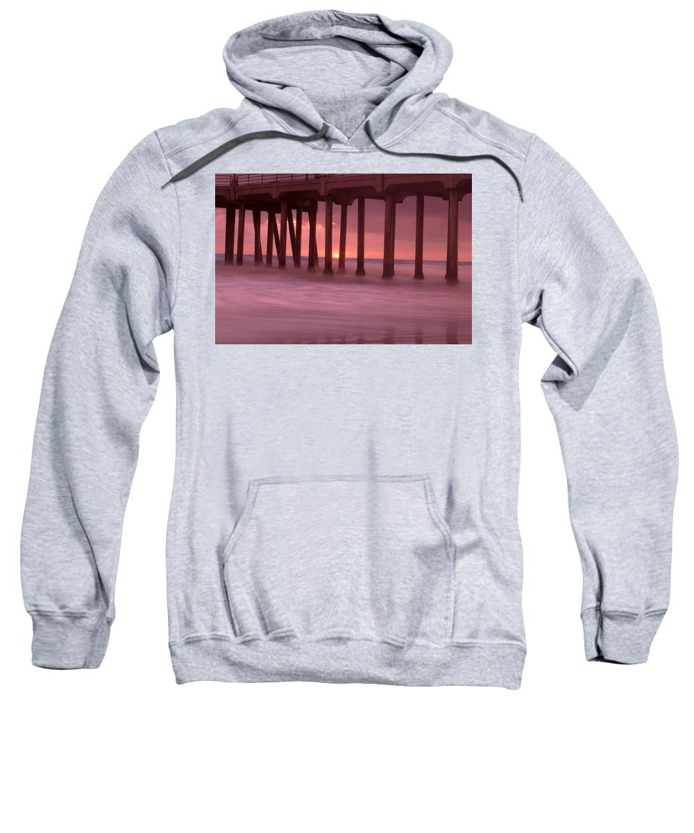 Horizon Sweatshirt featuring the photograph Sunset Behind Pier by Con Tanasiuk