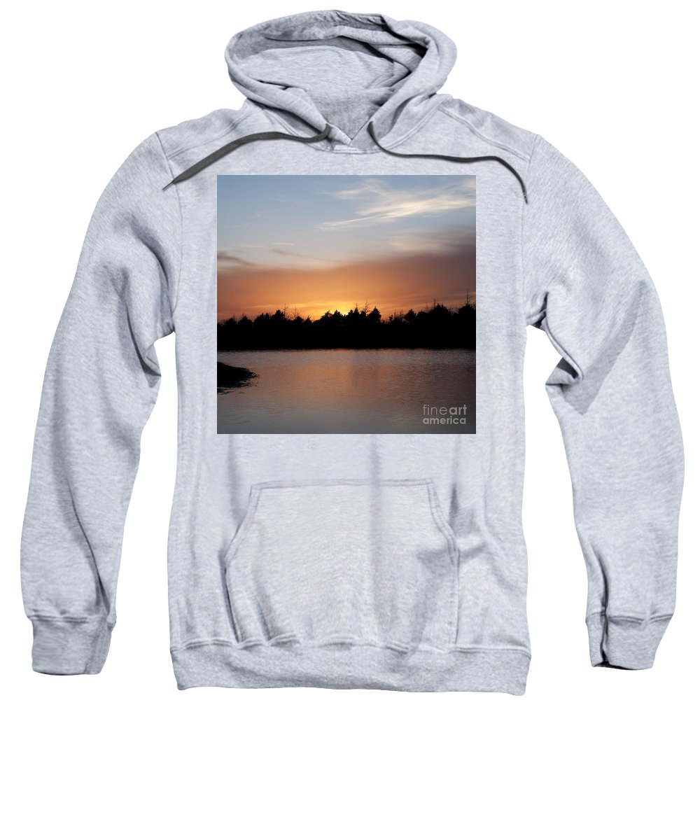 Square Sweatshirt featuring the photograph Sunset By The Lake by Art Whitton