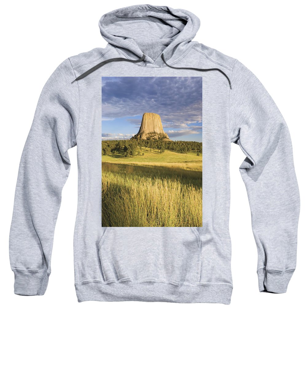 Color Image Sweatshirt featuring the photograph Sunset On Devils Tower Wyoming United by Philippe Widling