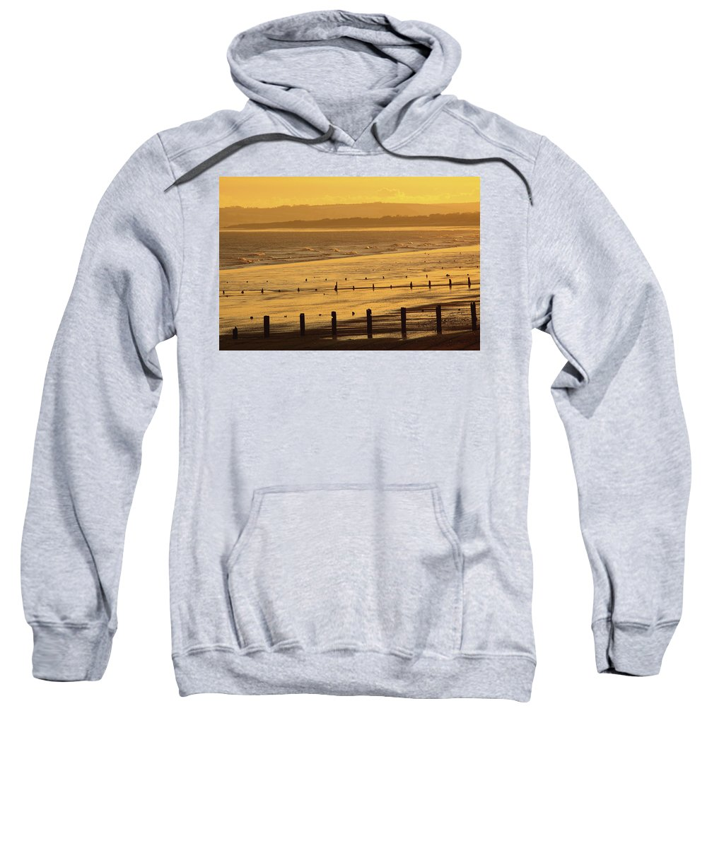Coast Sweatshirt featuring the photograph Sunset Over Beach In Winter Youghal by Trish Punch
