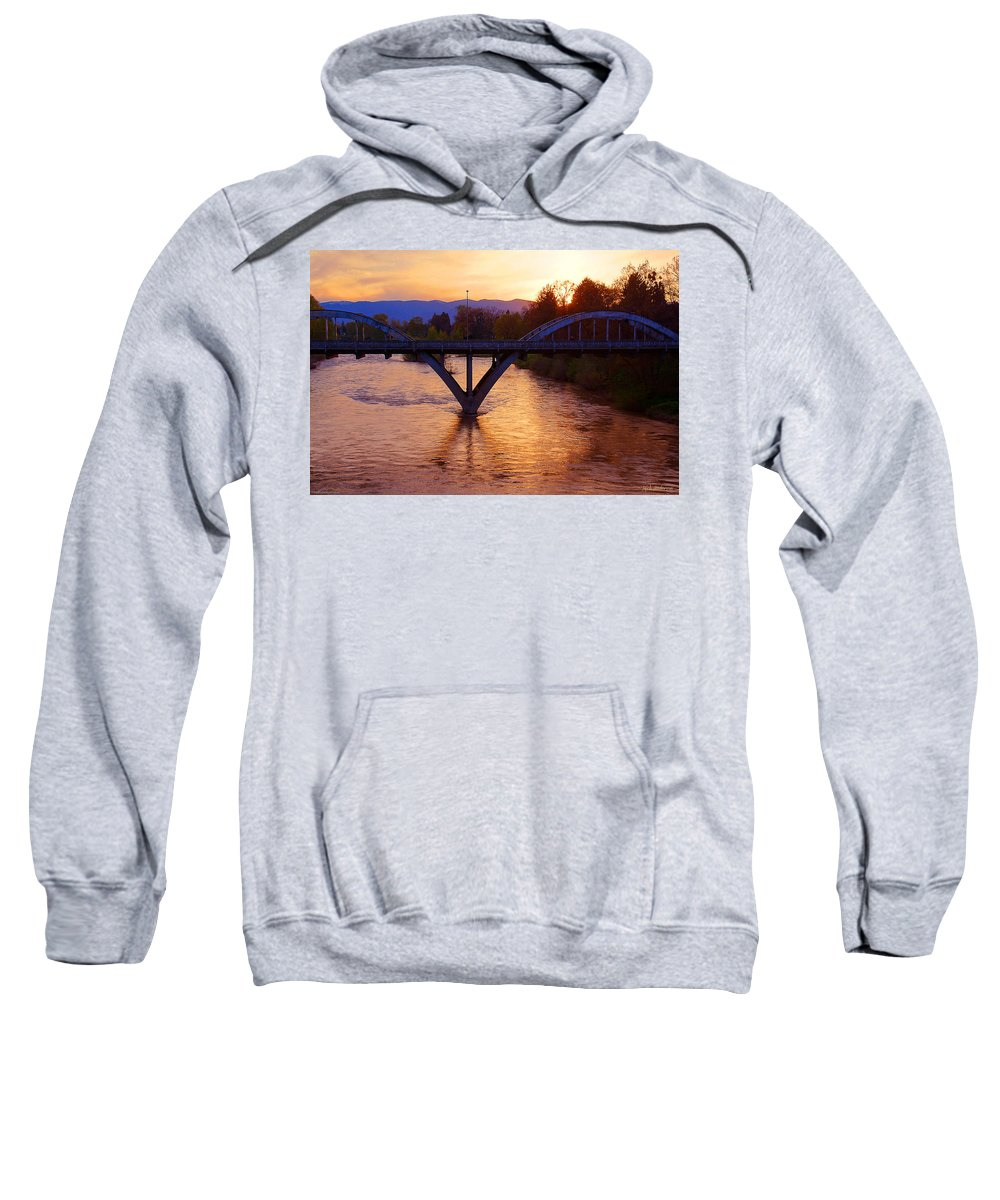 Grants Pass Sweatshirt featuring the photograph Sunset Over Caveman Bridge by Mick Anderson