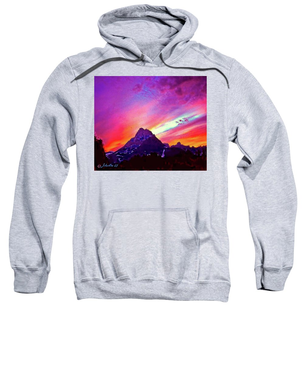 Bob Sweatshirt featuring the painting Sunset Over The Sierras by Bob and Nadine Johnston