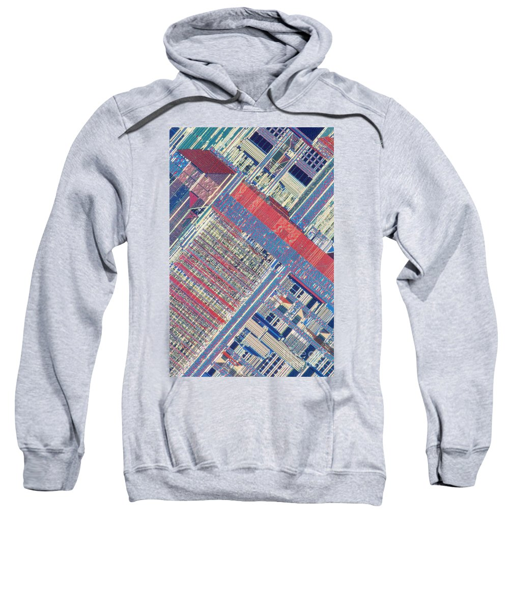 Microprocessor Sweatshirt featuring the photograph Surface Of Integrated Chip by Michael W. Davidson