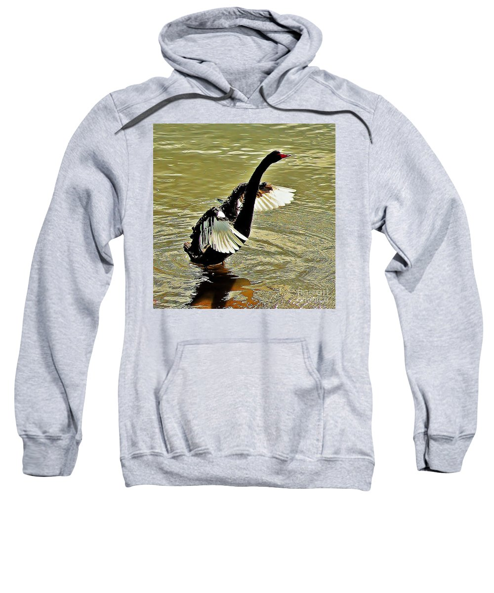 Australia Sweatshirt featuring the photograph Swan Dance by Blair Stuart