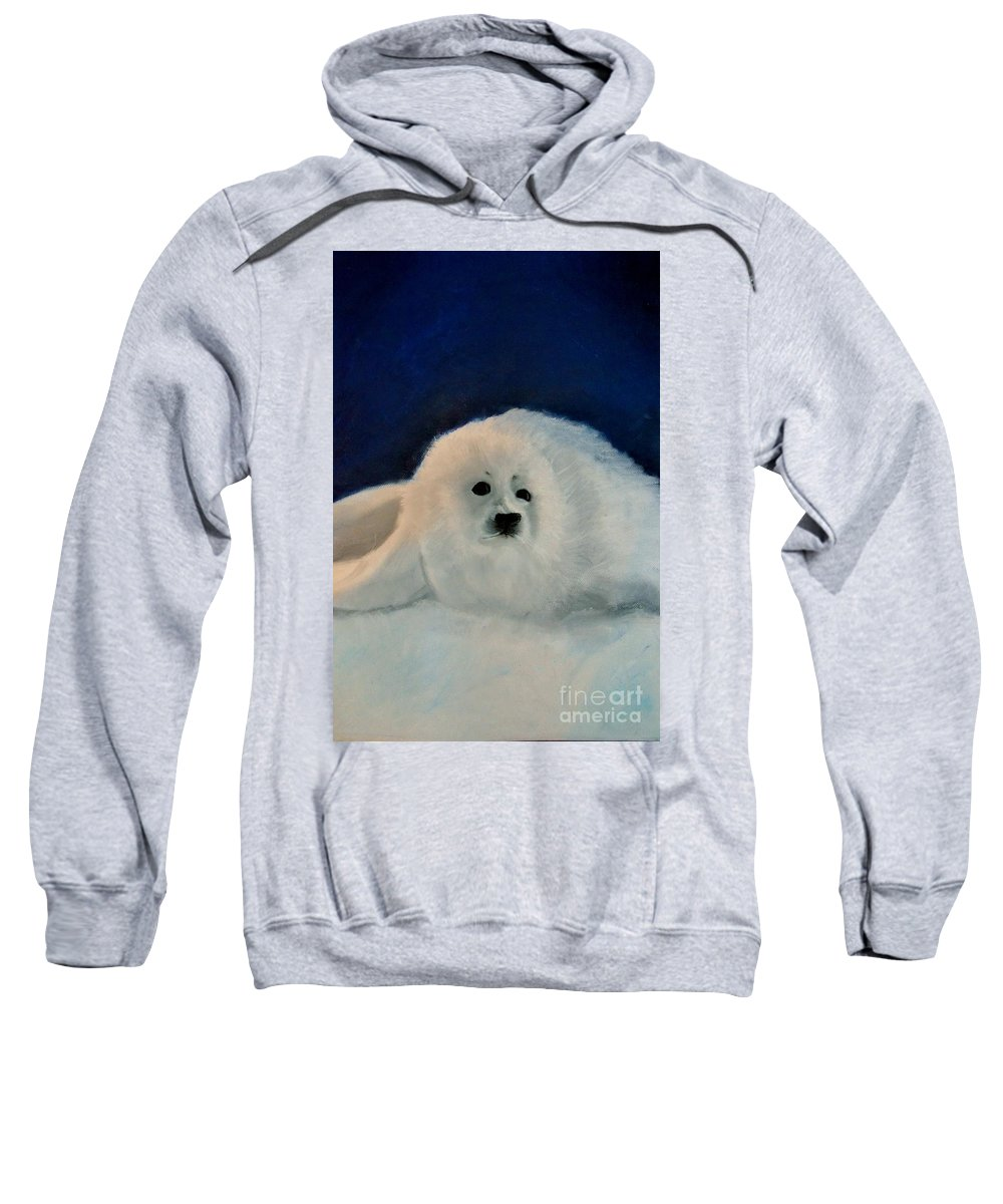 Christmas Sweatshirt featuring the drawing Sweet Little Winter Seal Pup Of My Soul by AE Hansen