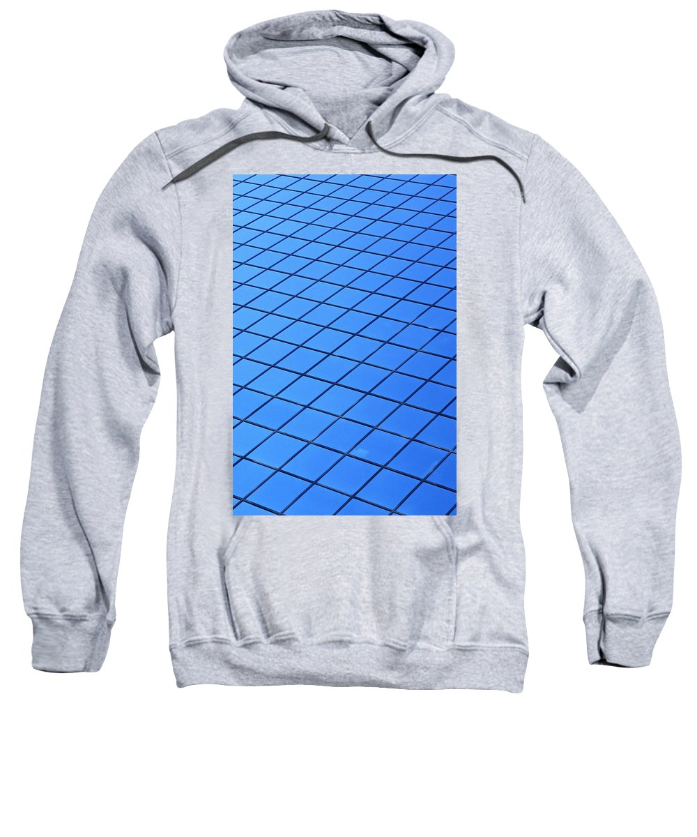 Pattern Sweatshirt featuring the photograph Symmetrical Pattern Of Blue Squares by David Chapman