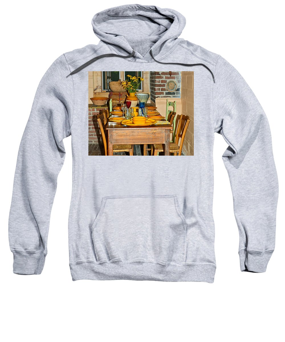 Table Sweatshirt featuring the photograph Tabletop by Susan Leggett
