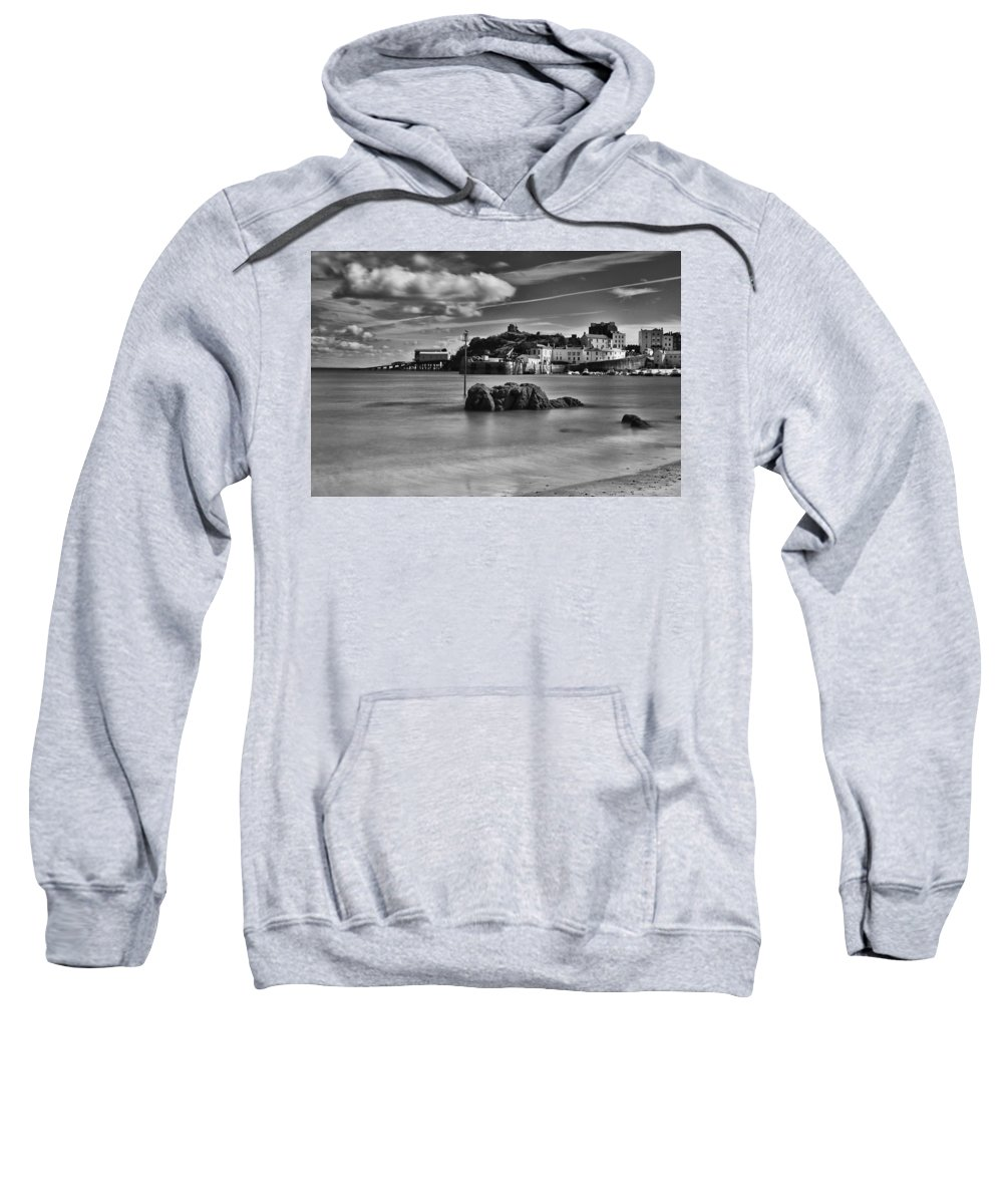 Tenby Harbour Sweatshirt featuring the photograph Tenby Harbour 1 Mono by Steve Purnell