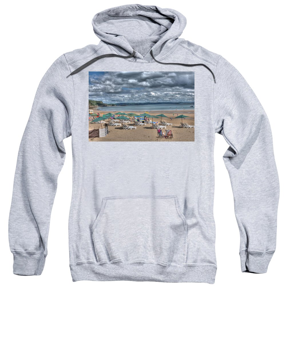 Tenby Harbour Sweatshirt featuring the photograph Tenby North Beach 3 by Steve Purnell