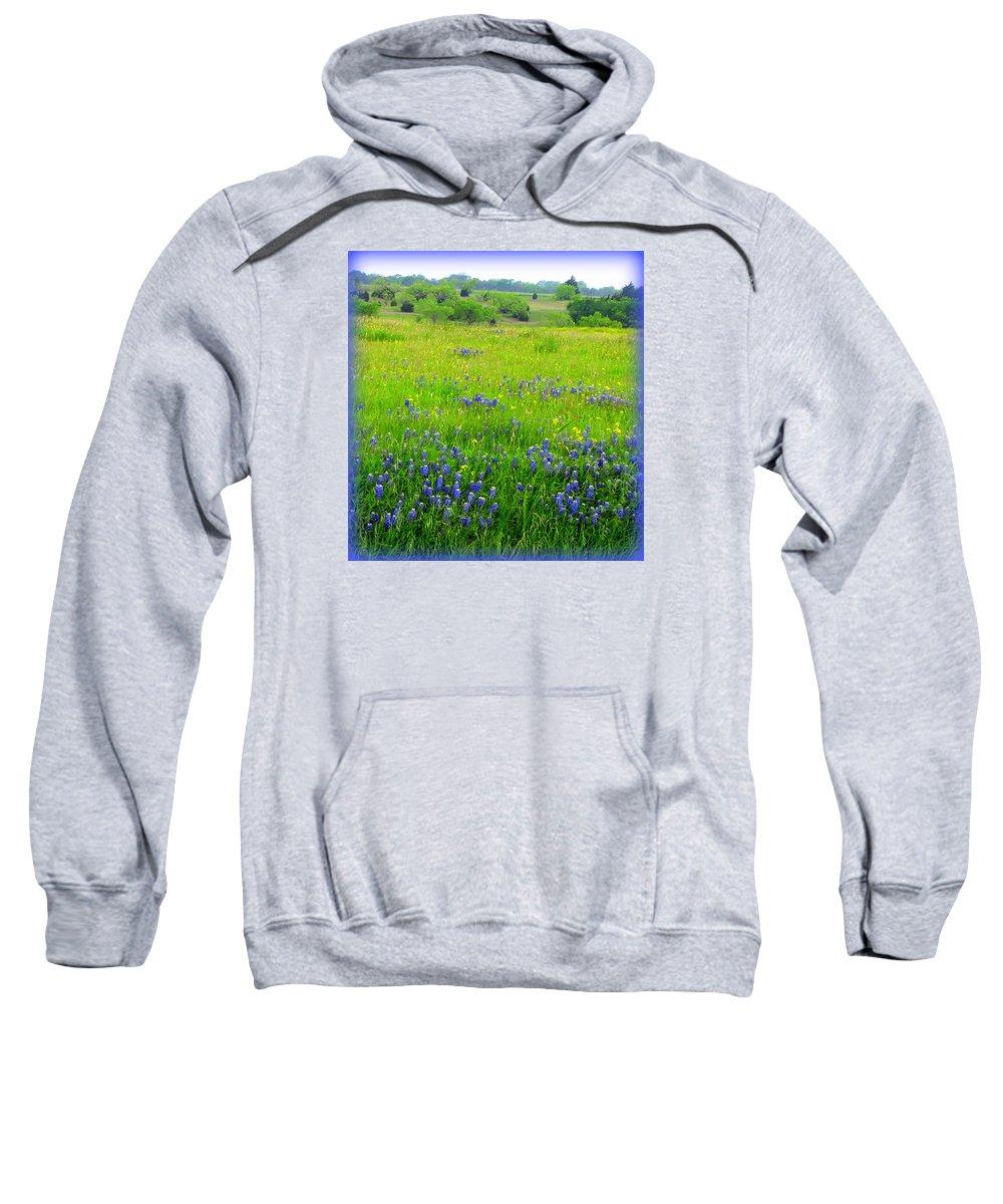 Texas Sweatshirt featuring the photograph Texas Bluebonnets by Carla Parris