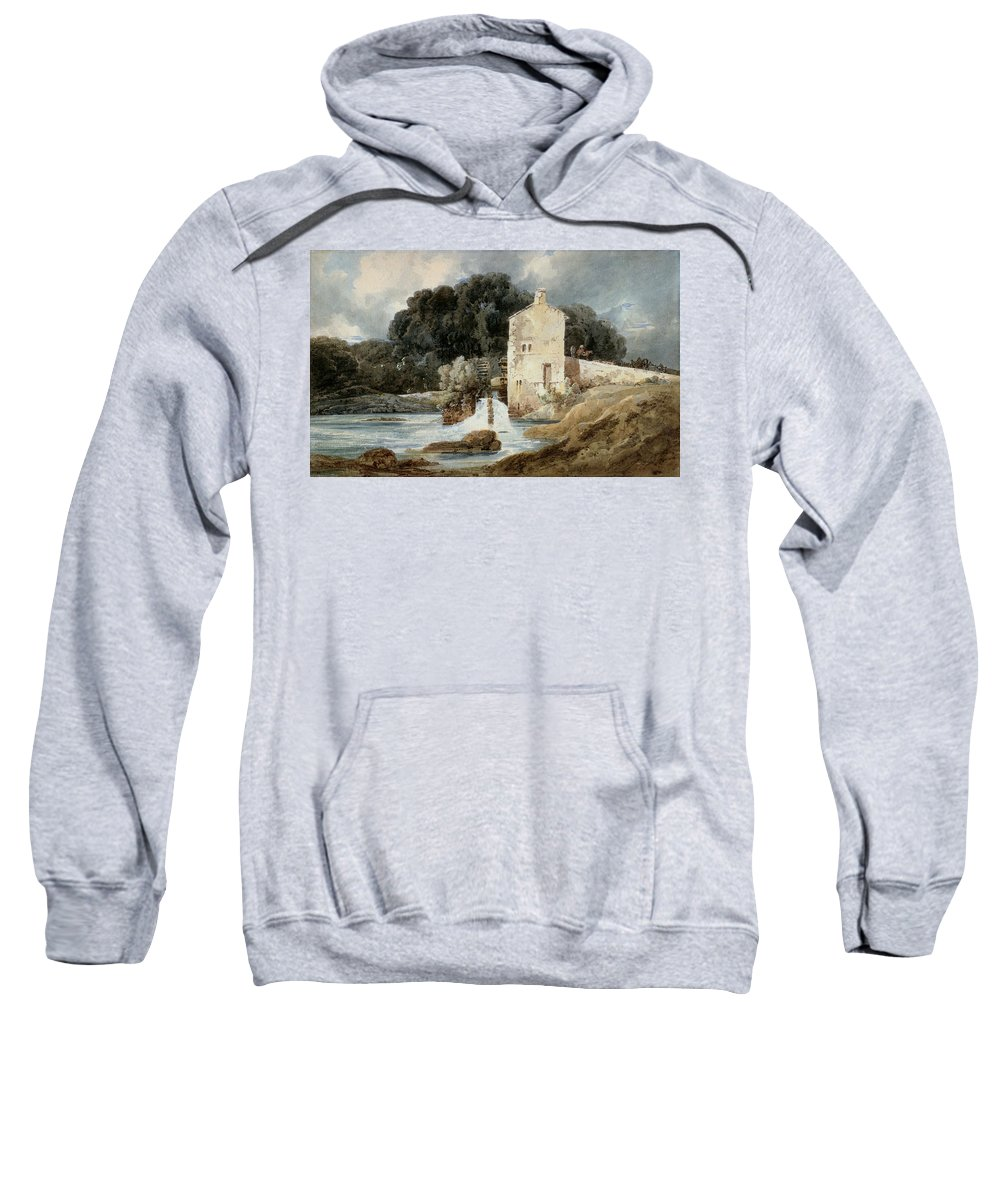 The Sweatshirt featuring the painting The Abbey Mill - Knaresborough by Thomas Girtin