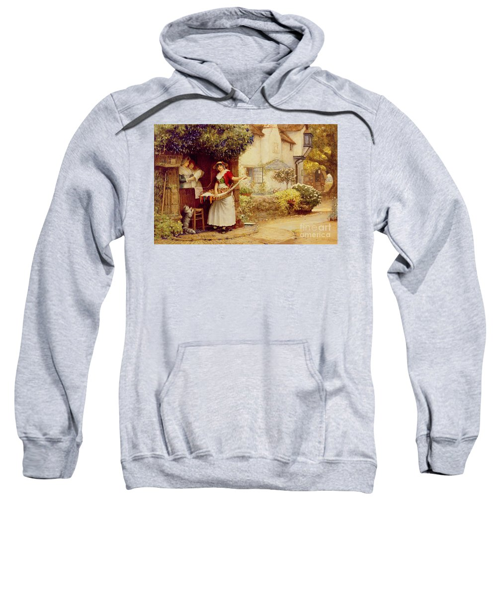 Women; Cottage; Pedlar; Wisteria; Village Life; Cat; Customer; Customers; Birdcage; Commerce; Trade; Traveller; Doorway; Victorian; Selling Songs Sweatshirt featuring the painting The Ballad Seller by Robert Walker Macbeth