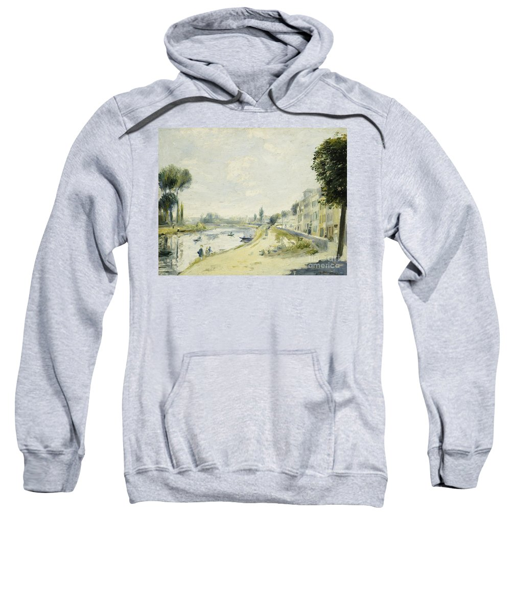 Impressionist; Impressionism; Landscape; River; Town; Tree; Buildings Sweatshirt featuring the painting The Banks Of The Seine At Bougival by Pierre Auguste Renoir