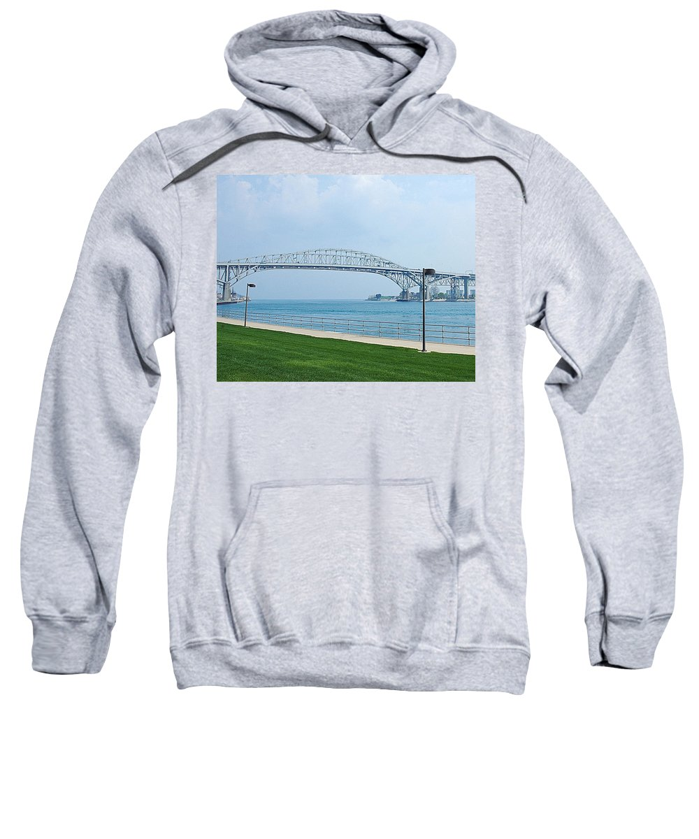 Usa Sweatshirt featuring the photograph The Blue Water Bridge by LeeAnn McLaneGoetz McLaneGoetzStudioLLCcom