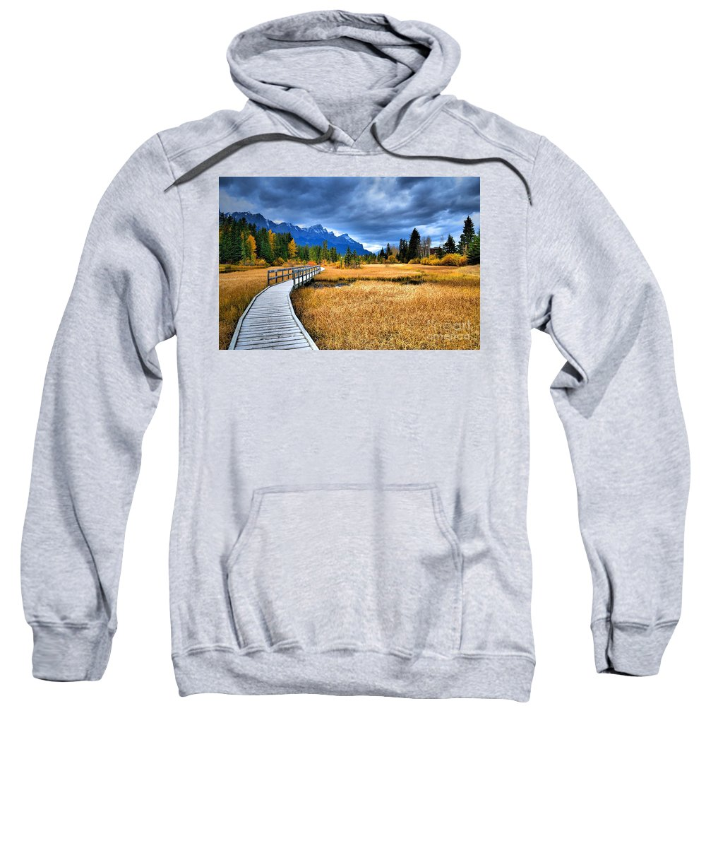 Canmore Sweatshirt featuring the photograph The Boardwalk by Tara Turner