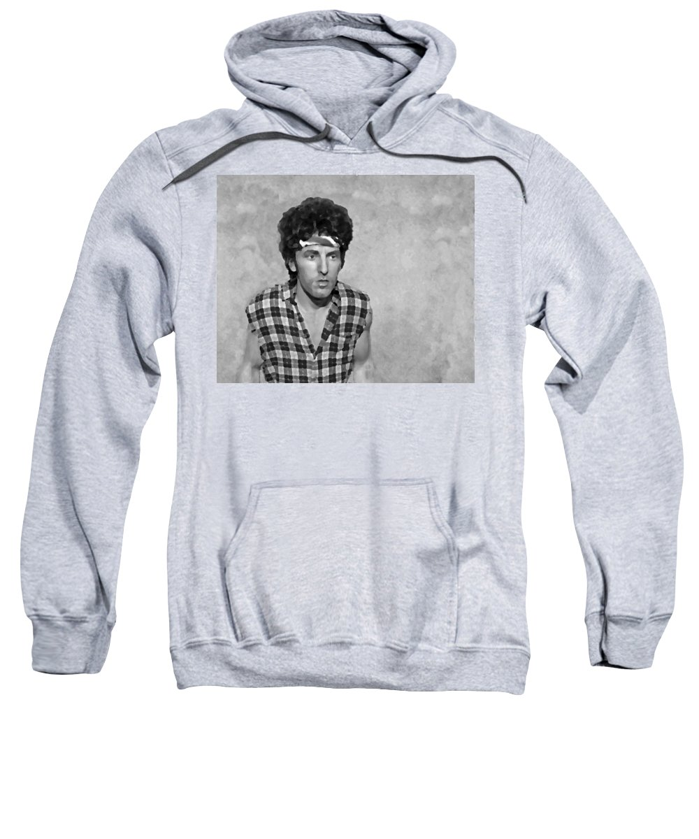 Bruce Springsteen Sweatshirt featuring the photograph The Boss Bw by David Dehner