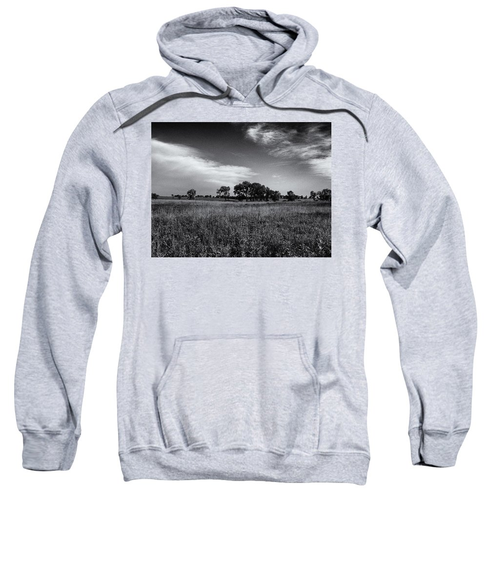 Beatrice Sweatshirt featuring the photograph The First Homestead In Black And White by Joshua House