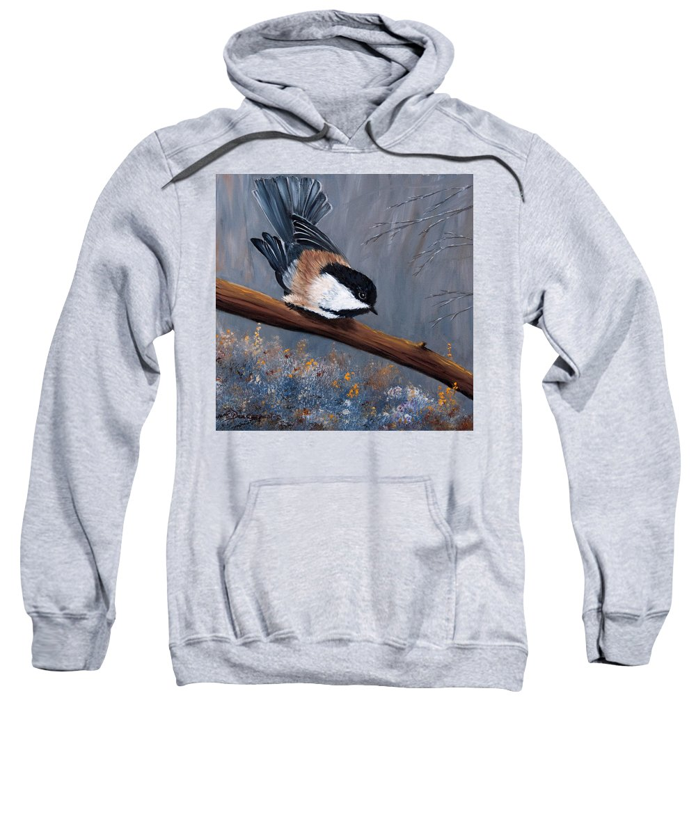 Chickadee Sweatshirt featuring the painting The Gathering I by Dee Carpenter