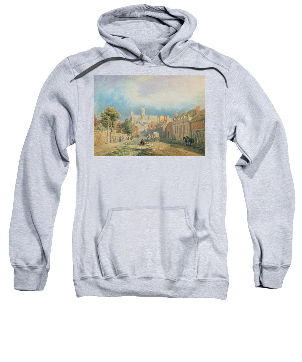 Cathedral Sweatshirt featuring the painting The High Street Lincoln by Thomas Kearnan