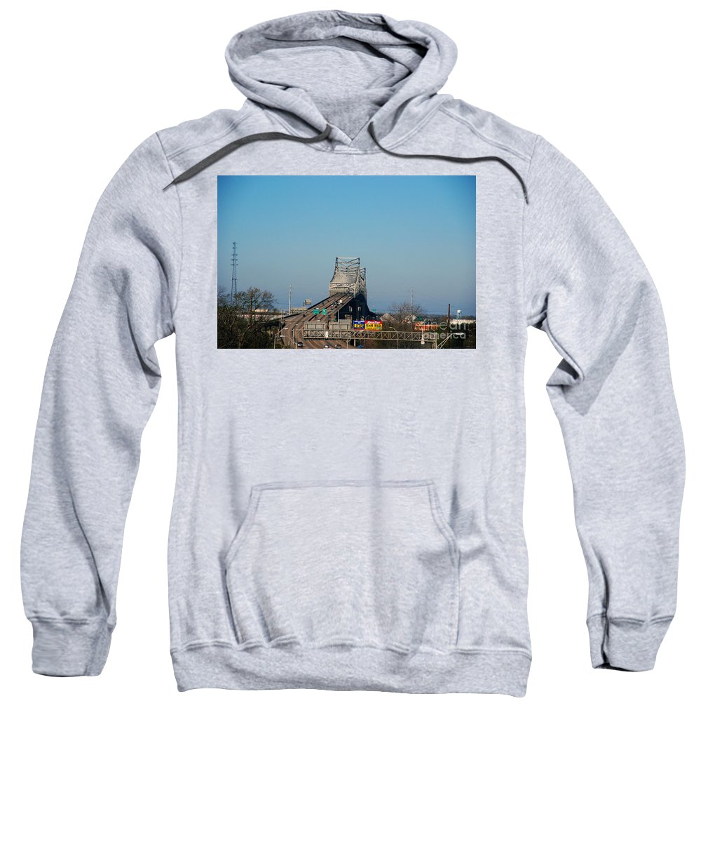 Horace Wilkinson Sweatshirt featuring the photograph The Horace Wilkinson Bridge Over The Mississippi River In Baton Rouge La by Susanne Van Hulst