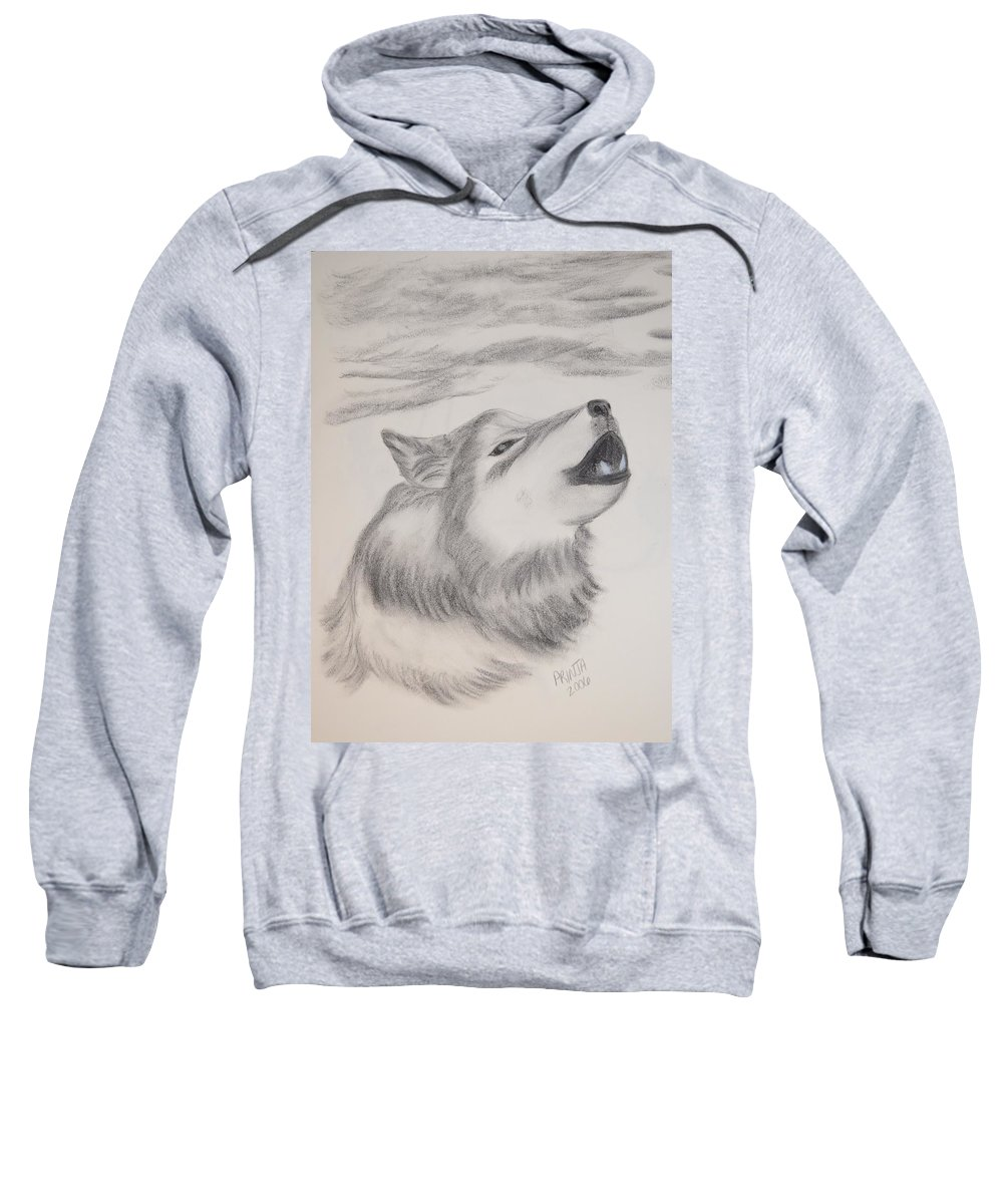 Wolf Sweatshirt featuring the drawing The Howler by Maria Urso