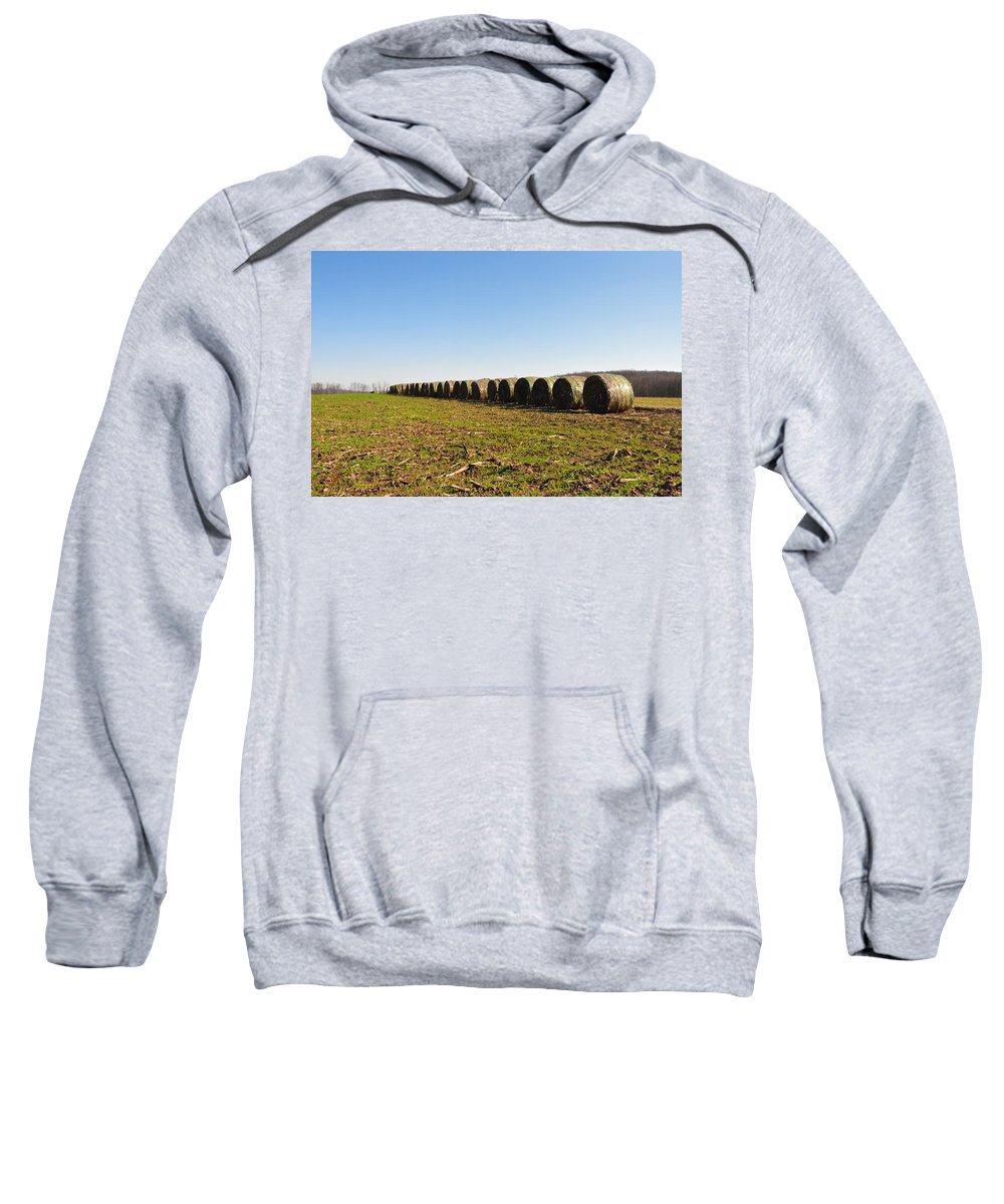 Hay Sweatshirt featuring the photograph The Line Up by Bill Cannon