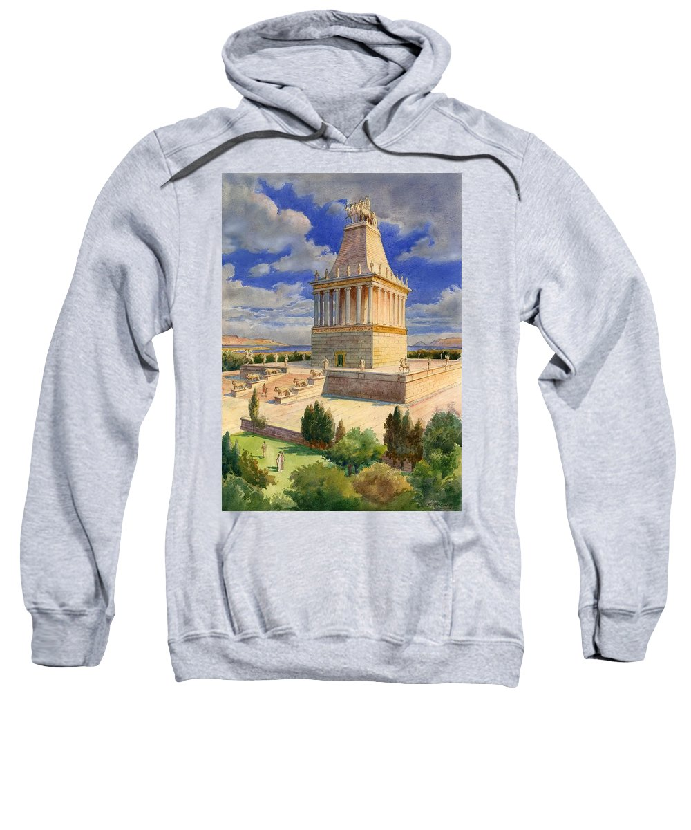 The Mausoleum At Halicarnassus; Seven Wonders Of The Ancient World; Mausoleum; Halicarnassus; King Of Caria Sweatshirt featuring the painting The Mausoleum At Halicarnassus by English School