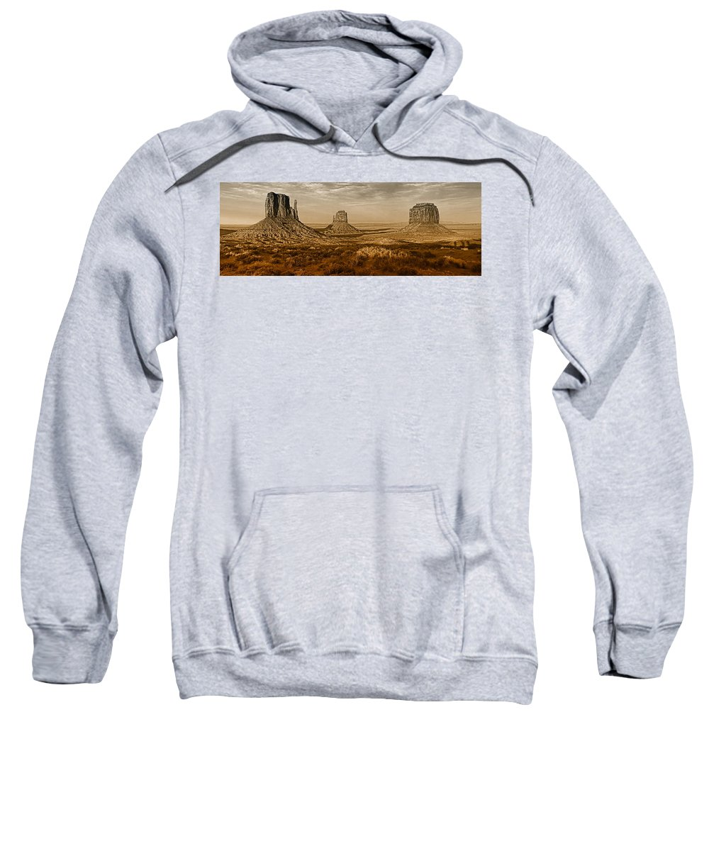 Monument Valley Sweatshirt featuring the photograph The Mittens At Monument Valley by Dave Mills
