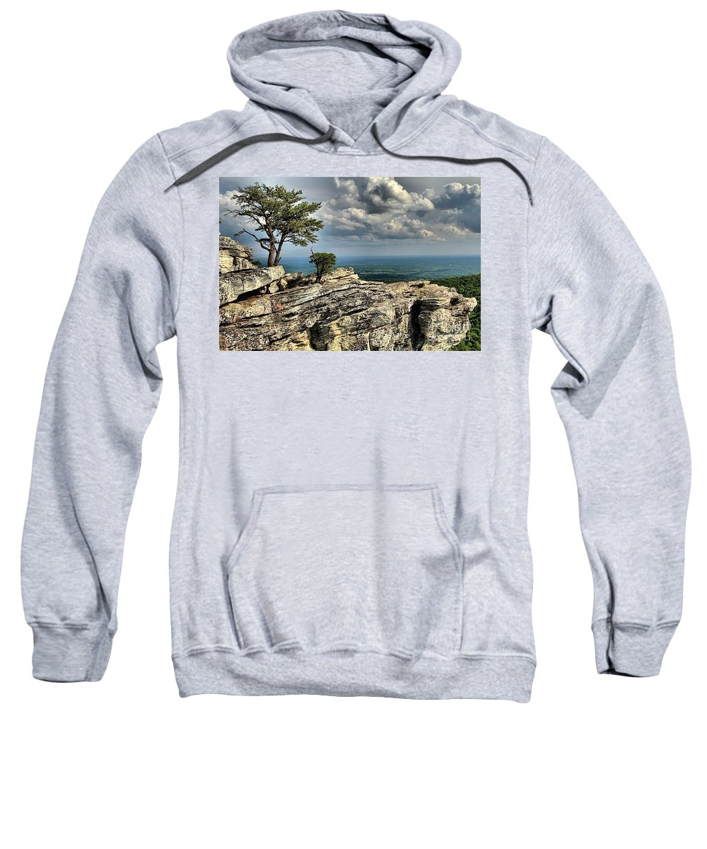 Hanging Rock State Park Sweatshirt featuring the photograph The Mountain Lookout by Adam Jewell