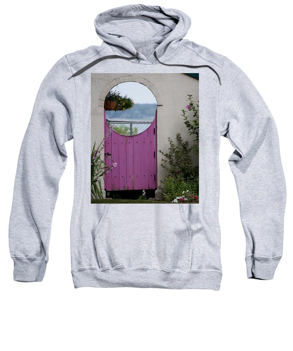 Flowers Sweatshirt featuring the photograph The Purple Door by Dennis Pintoski
