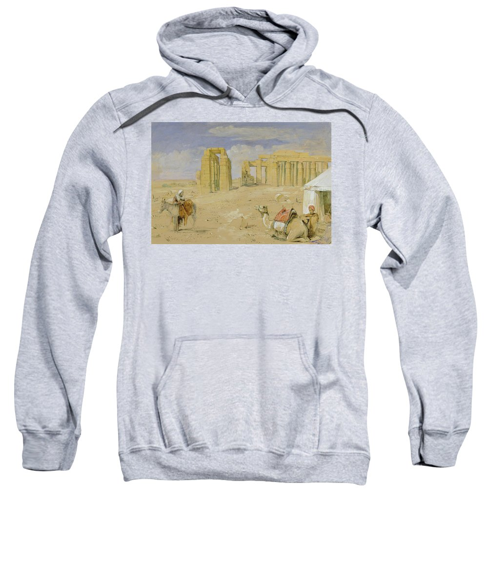 Xyc277112 Sweatshirt featuring the photograph The Ramesseum At Thebes by John Frederick Lewis
