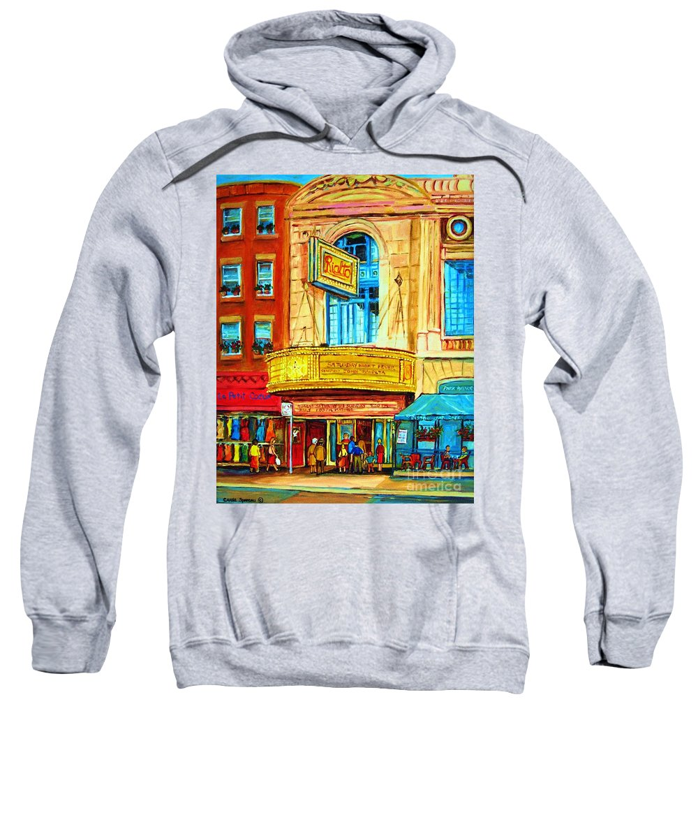 Street Scene Sweatshirt featuring the painting The Rialto Theatre by Carole Spandau