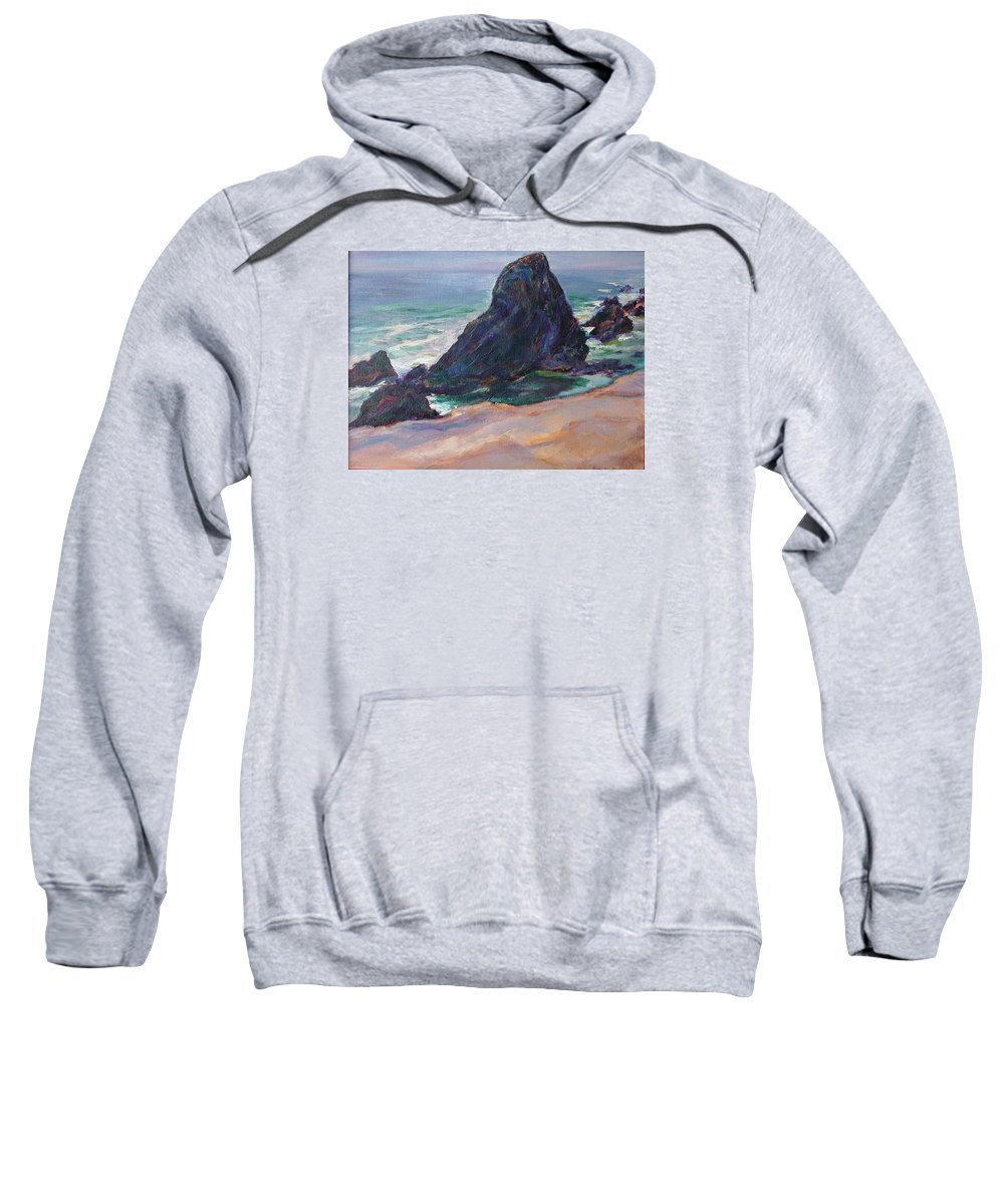Seascape Sweatshirt featuring the painting The Seal Rock March by Quin Sweetman