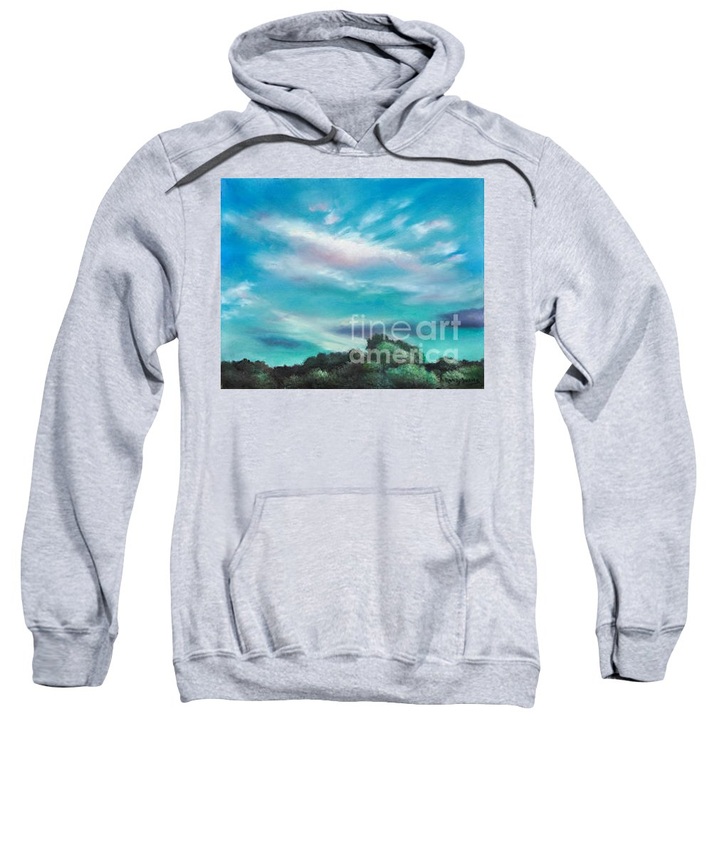 Blue Sky Sweatshirt featuring the painting The Sky That Day by Randy Burns