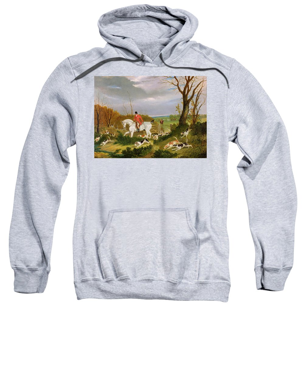Pack; Hound; Hounds; Dog; Rider; Riding; Huntsman; Red Coat; Rural; Pursuit; Countryside; Sport; Searching; Pack; Hunter; Bloodsport Sweatshirt featuring the painting The Suffolk Hunt - Going To Cover Near Herringswell by John Frederick Herring Snr