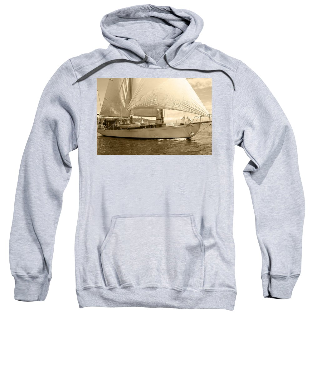 Sailboat Sweatshirt featuring the photograph The Suva In Sepia by Kym Backland