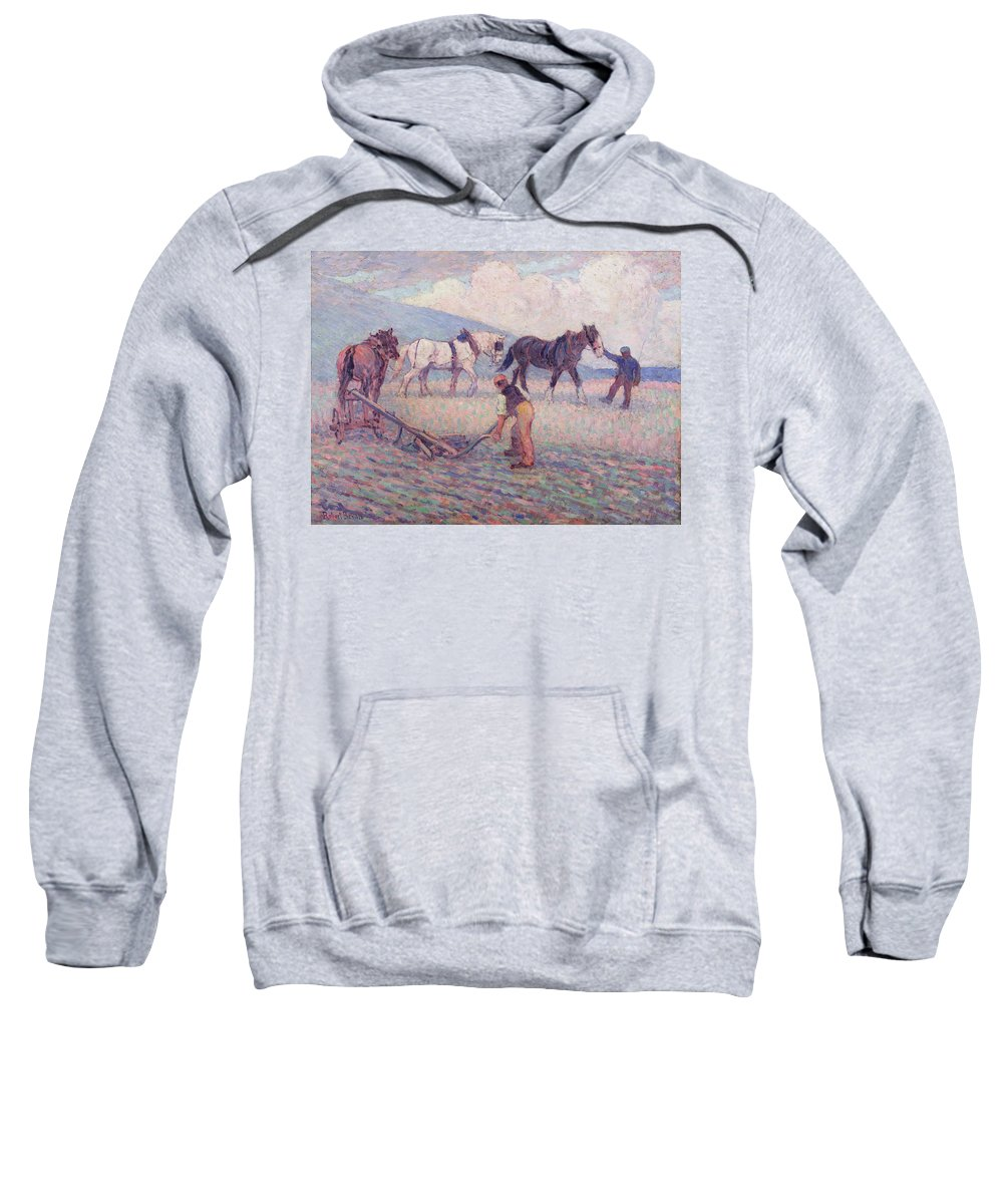 Xyc153926 Sweatshirt featuring the photograph The Turn - Rice Plough by Robert Polhill Bevan
