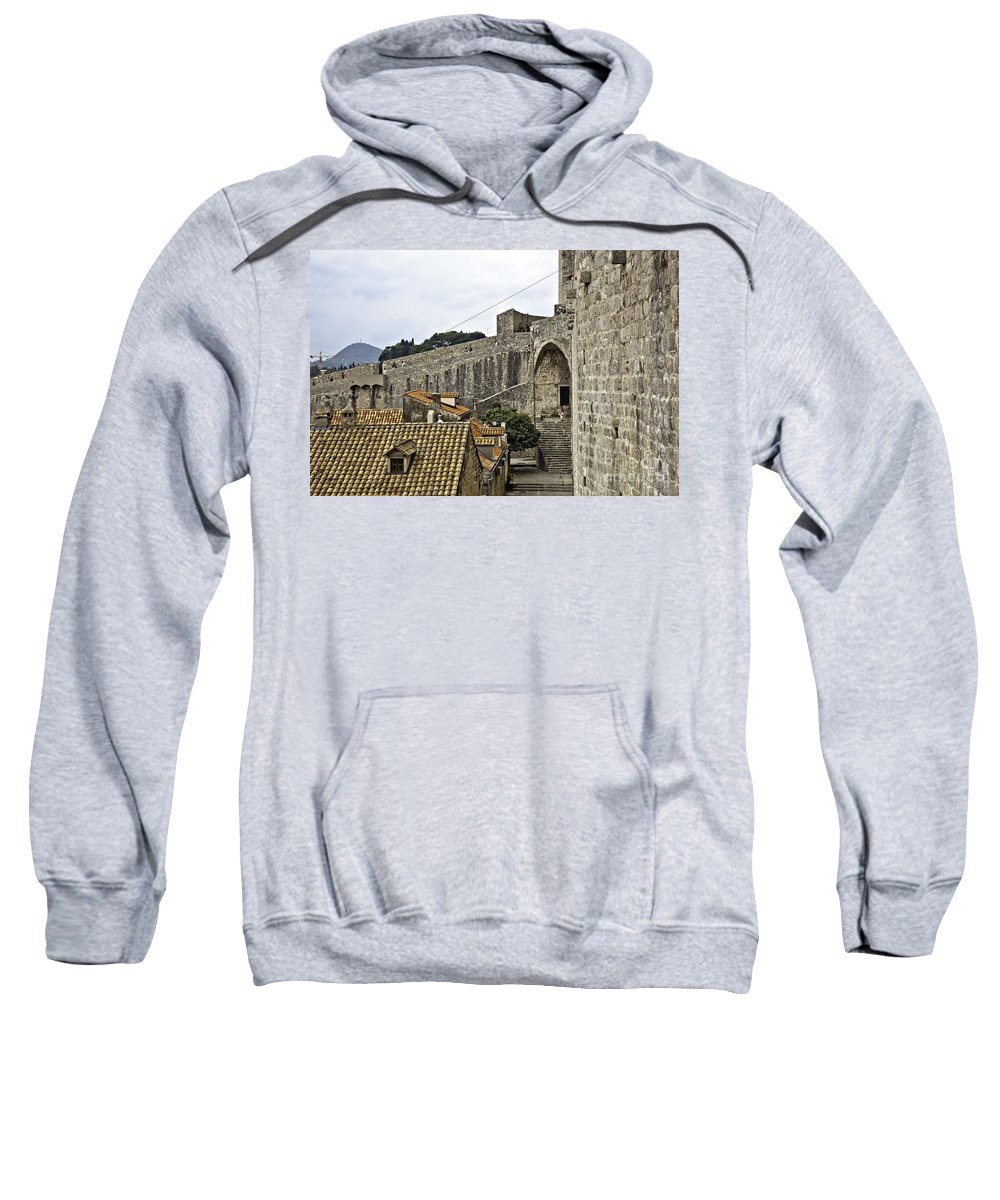 Dubrovnik Croatia Sweatshirt featuring the photograph The Wall In Dubrovnik by Madeline Ellis