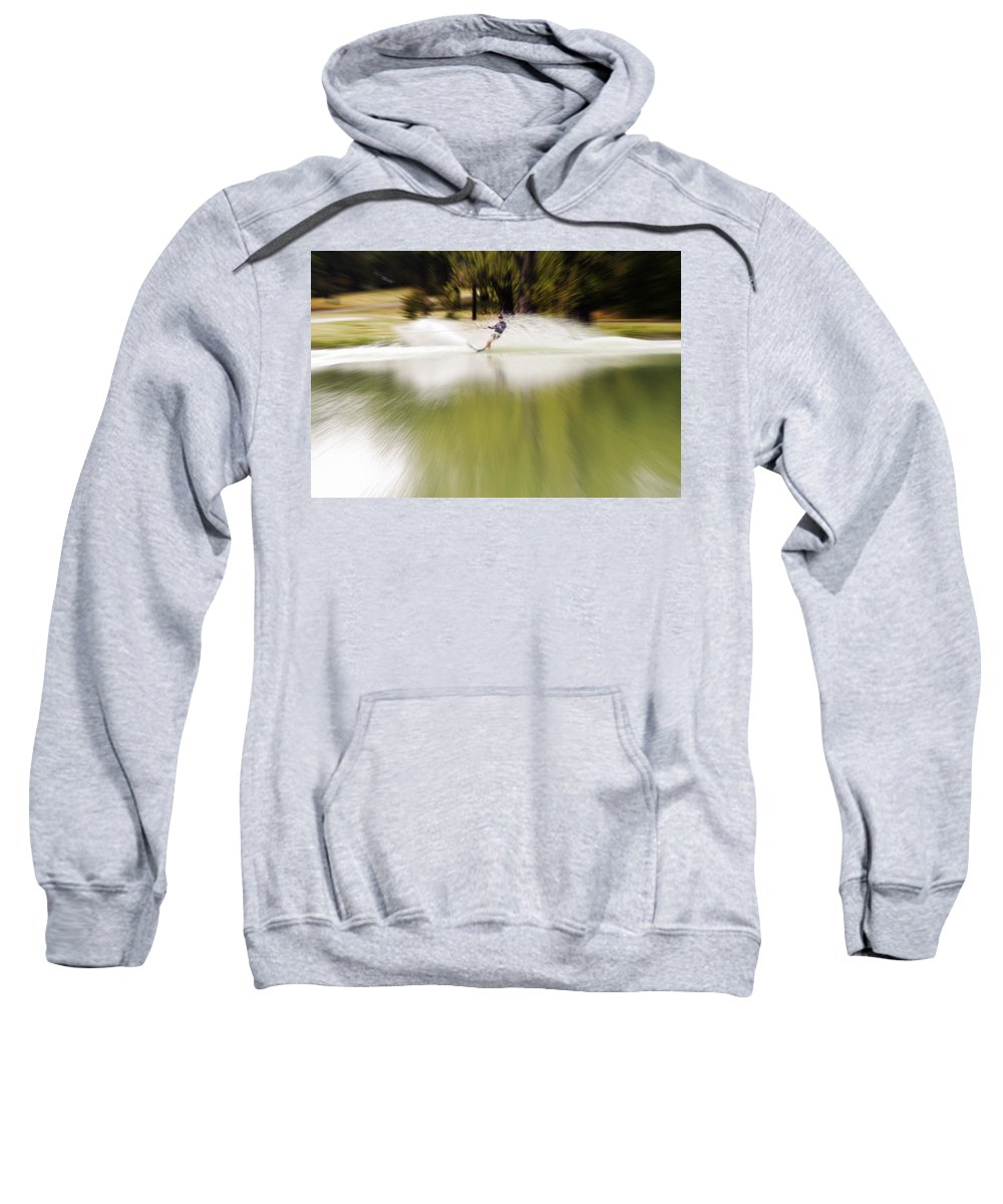 The Water Skier Sweatshirt featuring the photograph The Water Skier 1 by Douglas Barnard