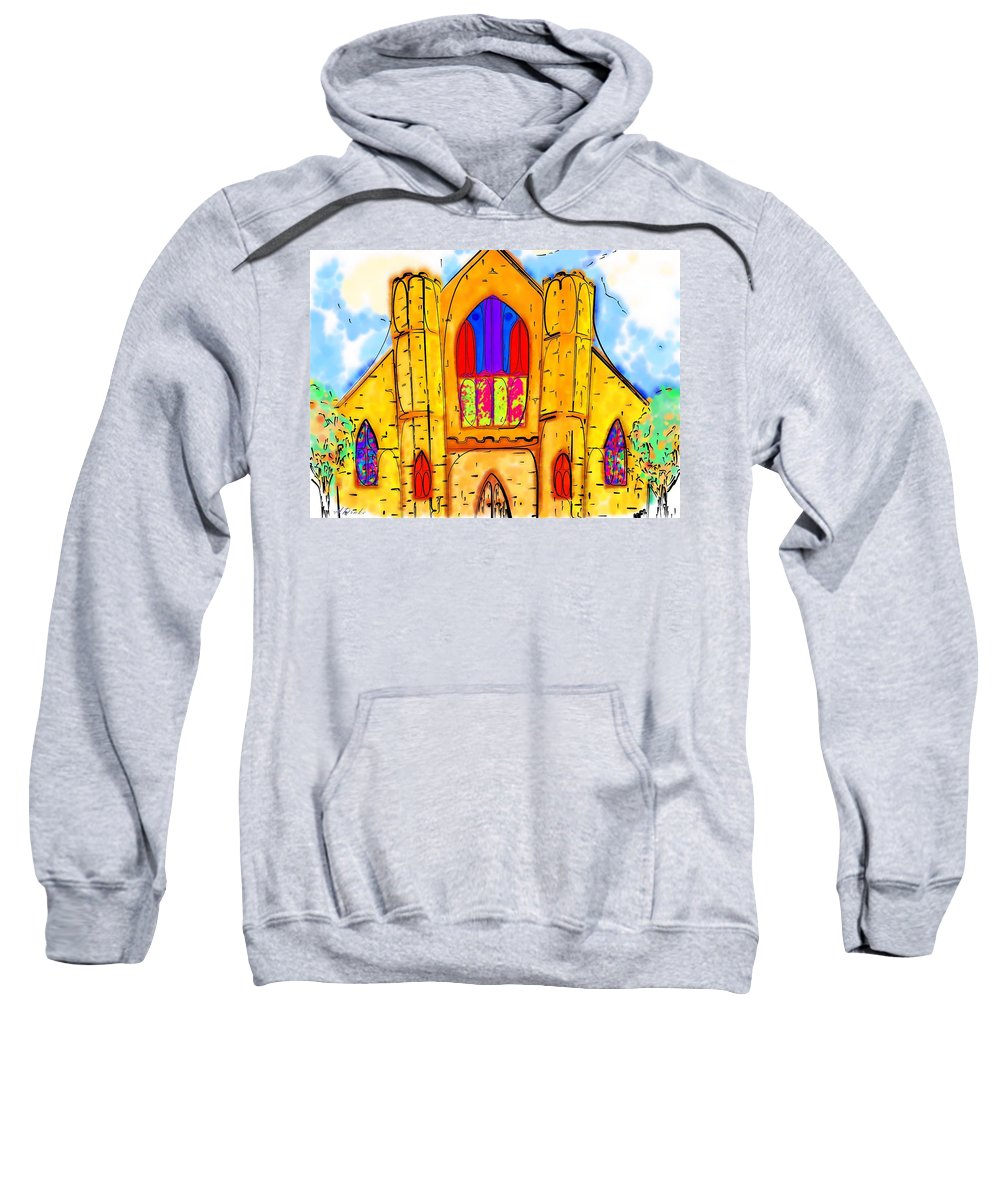Wedding Sweatshirt featuring the digital art The Wedding Chapel by Alec Drake