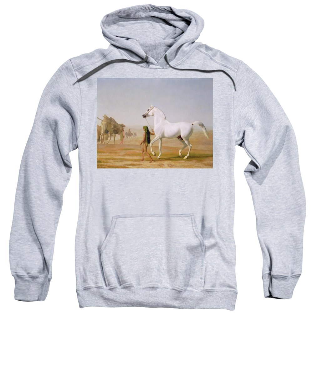 The Sweatshirt featuring the painting The Wellesley Grey Arabian Led Through The Desert by Jacques-Laurent Agasse